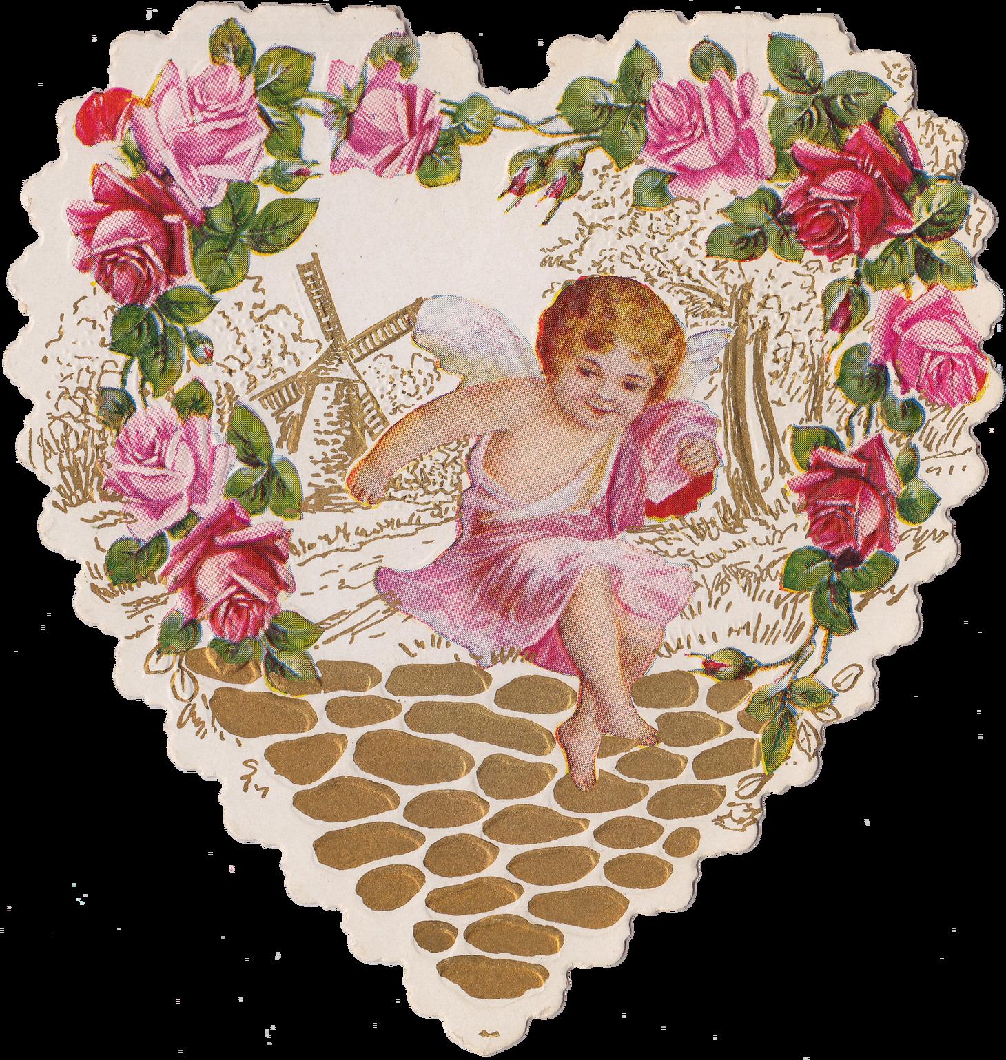 Cut Rose Heart With Cherub Amp Dear Friend Poem