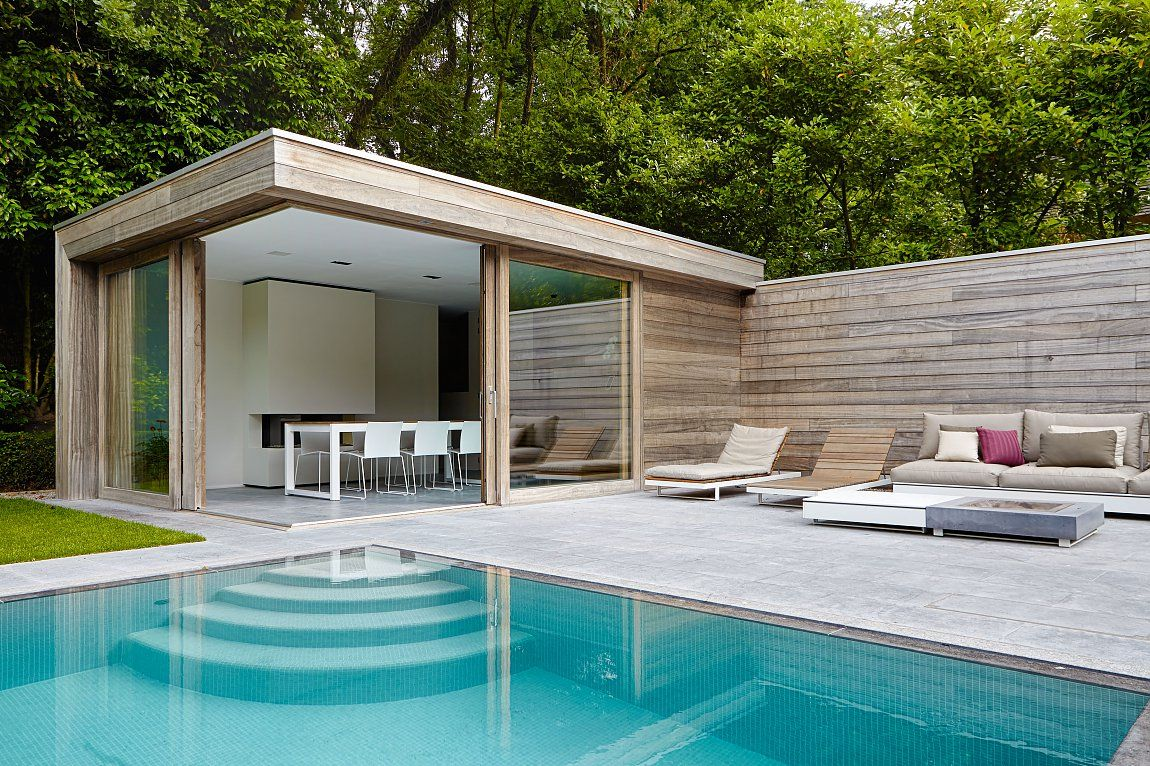 modern poolhouse in padoek Bogarden Great pin! For