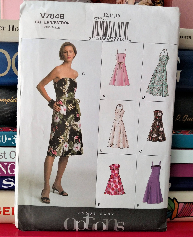 2004 Vogue Easy Options 7848 A Line Dress Close Fitting Floor