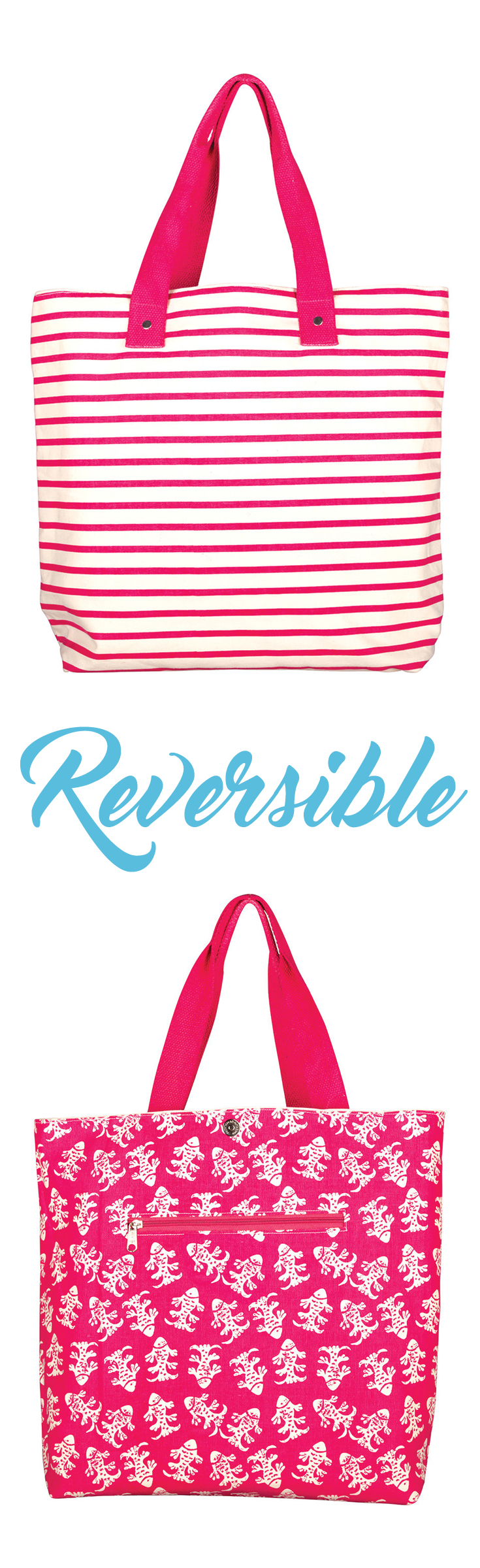 """Bateau Stripe Pink Reversible Tote  15"""" x 16"""", This bag is ideal for trips long and short. The zippered pocket and cotton web handles.  Also available in other colors."""
