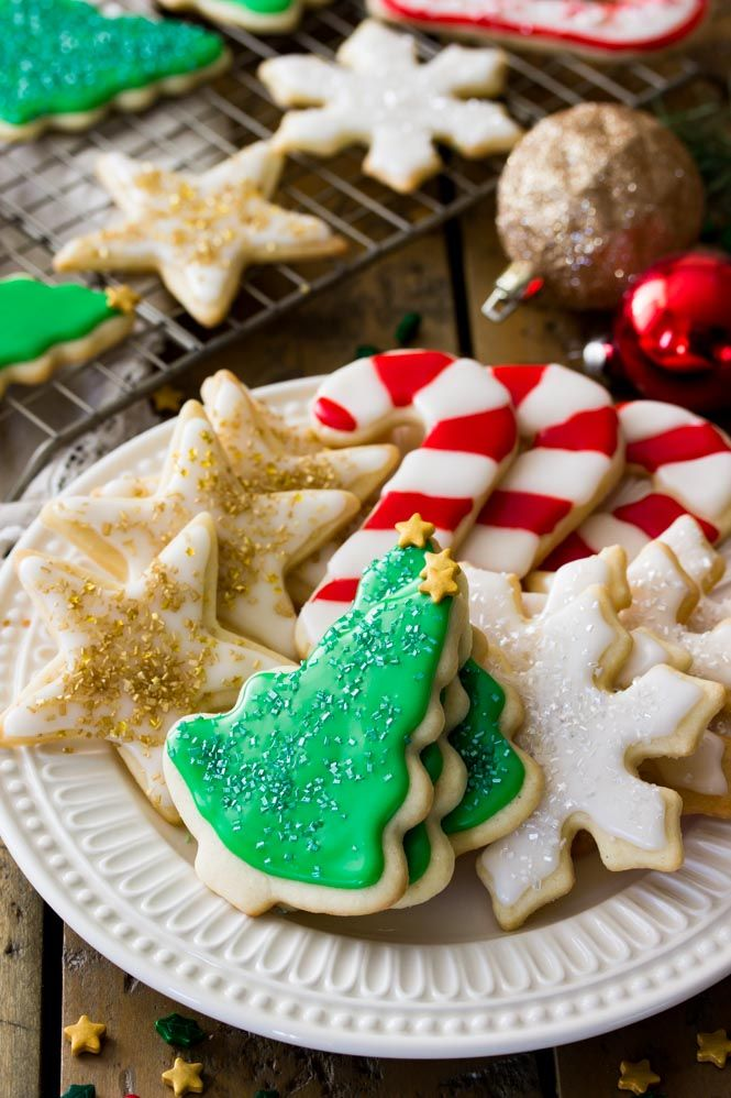 A plate of decorated sugar cookies Christmas Desserts Pinterest