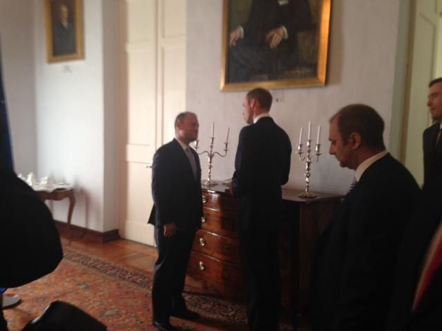 Duke of Cambridge met with President of Malta, Marie Louise Colerio Preca, at official residence - San Anton Palace He is representing Queen at official celebrations to mark the 50th anniversary of independence from Great Britain