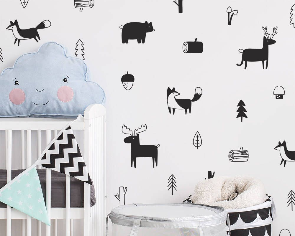 Nordic forest animal wall decals price 18 06 worldwide shipping myhome