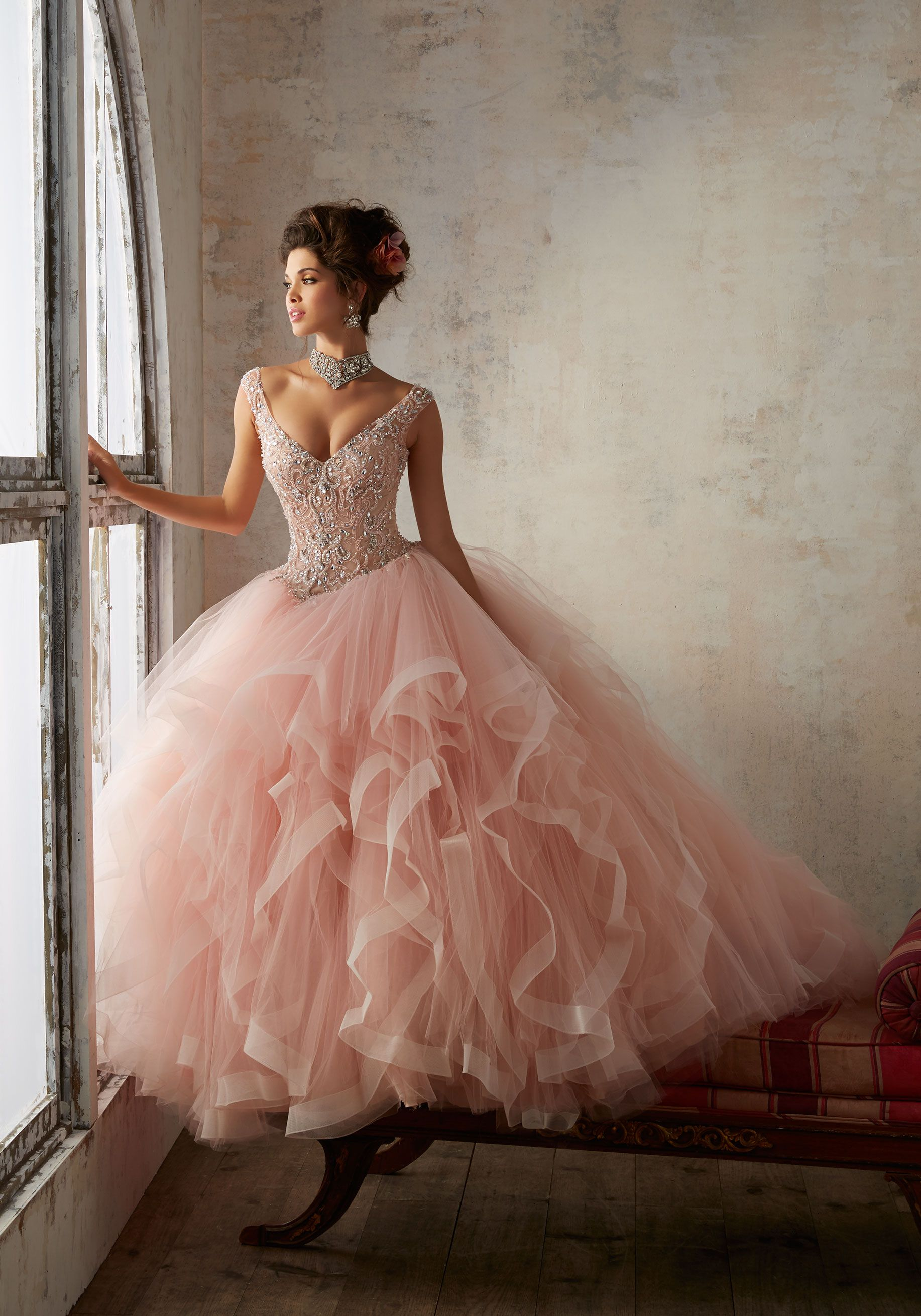 Jeweled beading on a flounced tulle ballgown vizcaya dresses in