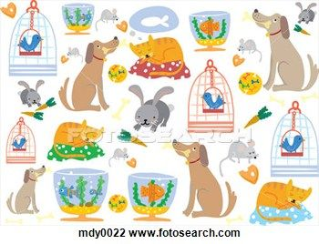 Clip Art of A pattern of pet dogs, cats, rabbits, mice, birds and ...