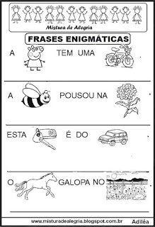 Frases Enigmaticas Para Alfabetizacao Imprimir E Colorir