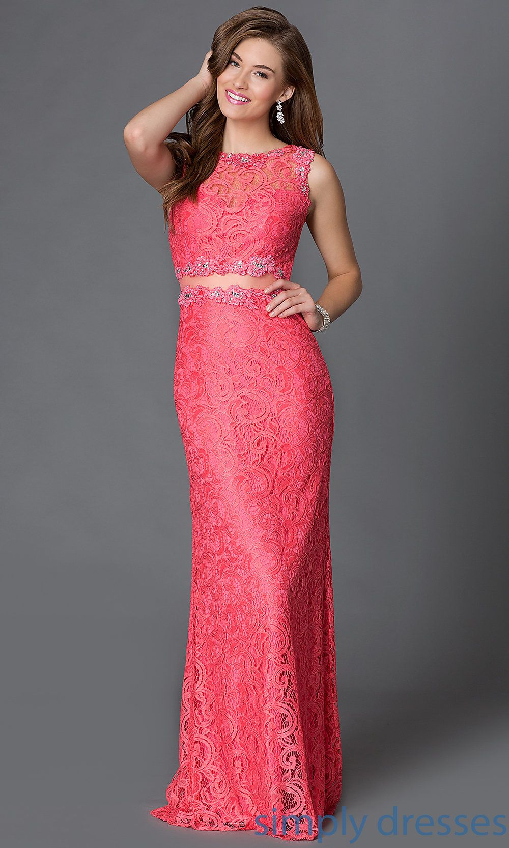 Sleeveless lace mock two piece long gown vestidos pinterest
