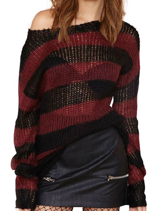 Burgundy and Black Striped Hollow Sheer Loose Knitted Pullover ...