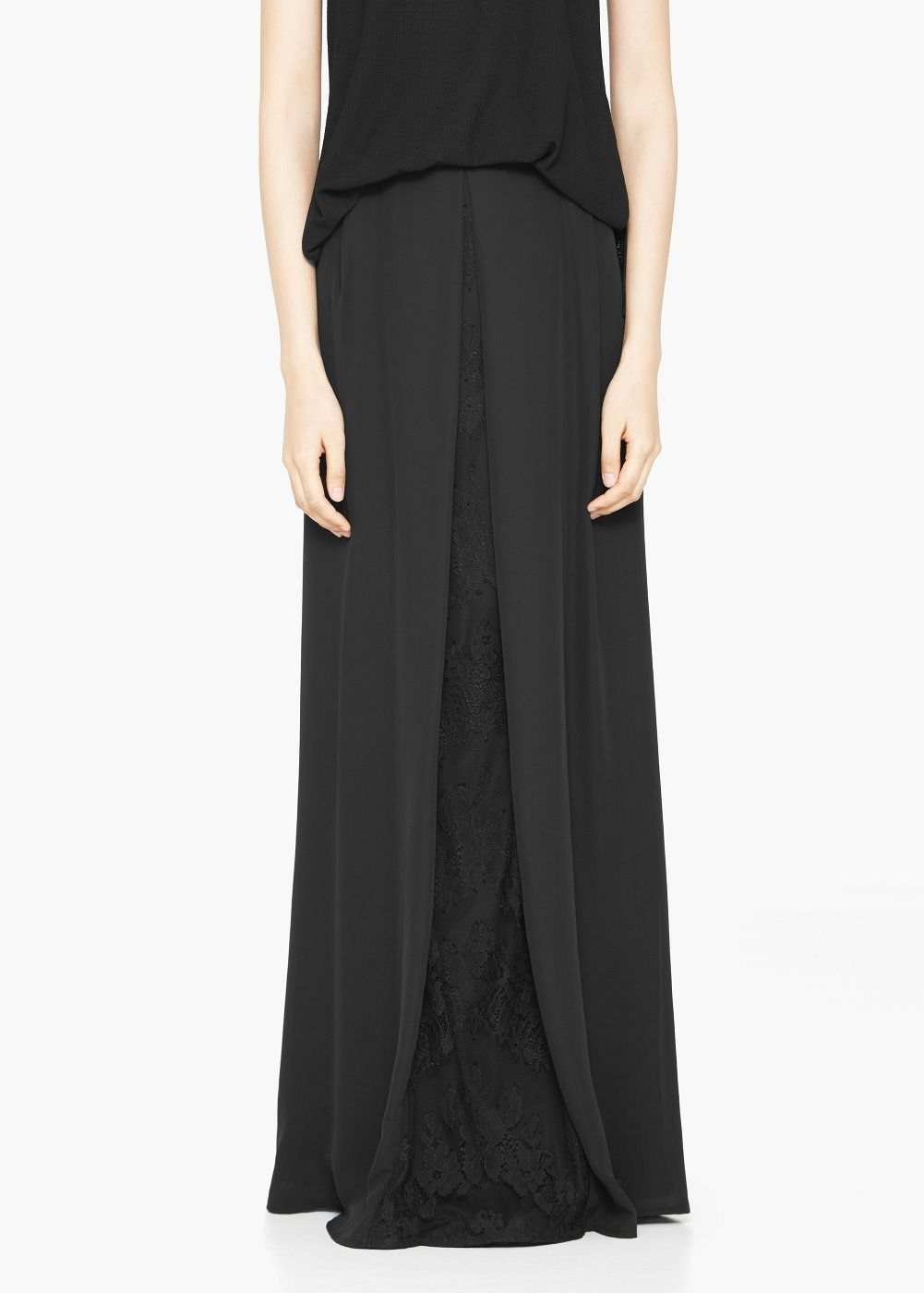 Falda larga blonda - Faldas de Mujer | MANGO
