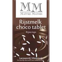 Maitre Mathis Rijstmelk chocolade. met of zonder rice-crispies. (Gluten- en melkvrij. Bevat sojalecithine.)