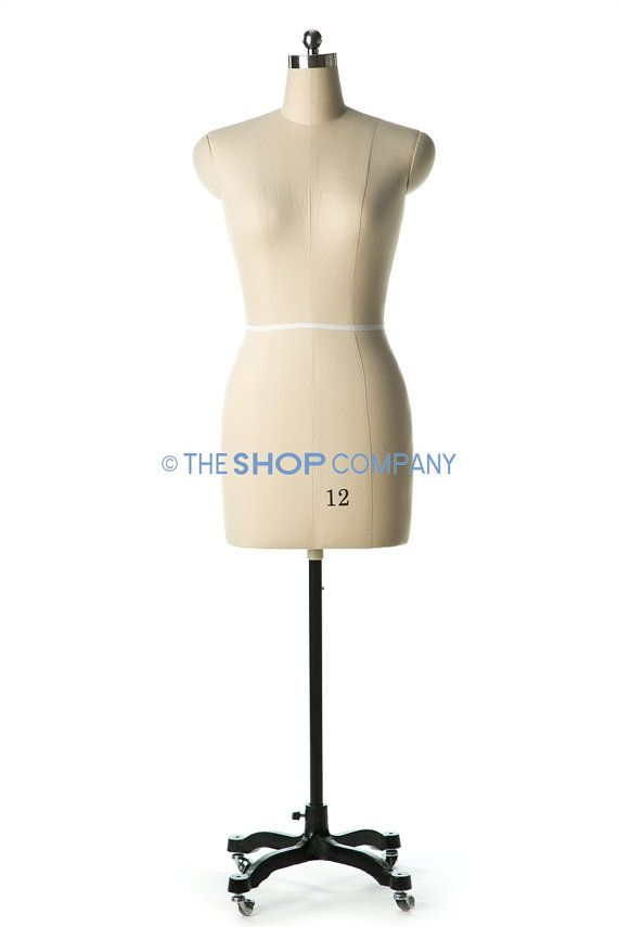 Female Sewing Dress Form Mannequin Fully Pinnable with Magnetic Removable Shoulders on Rolling Base Size 0