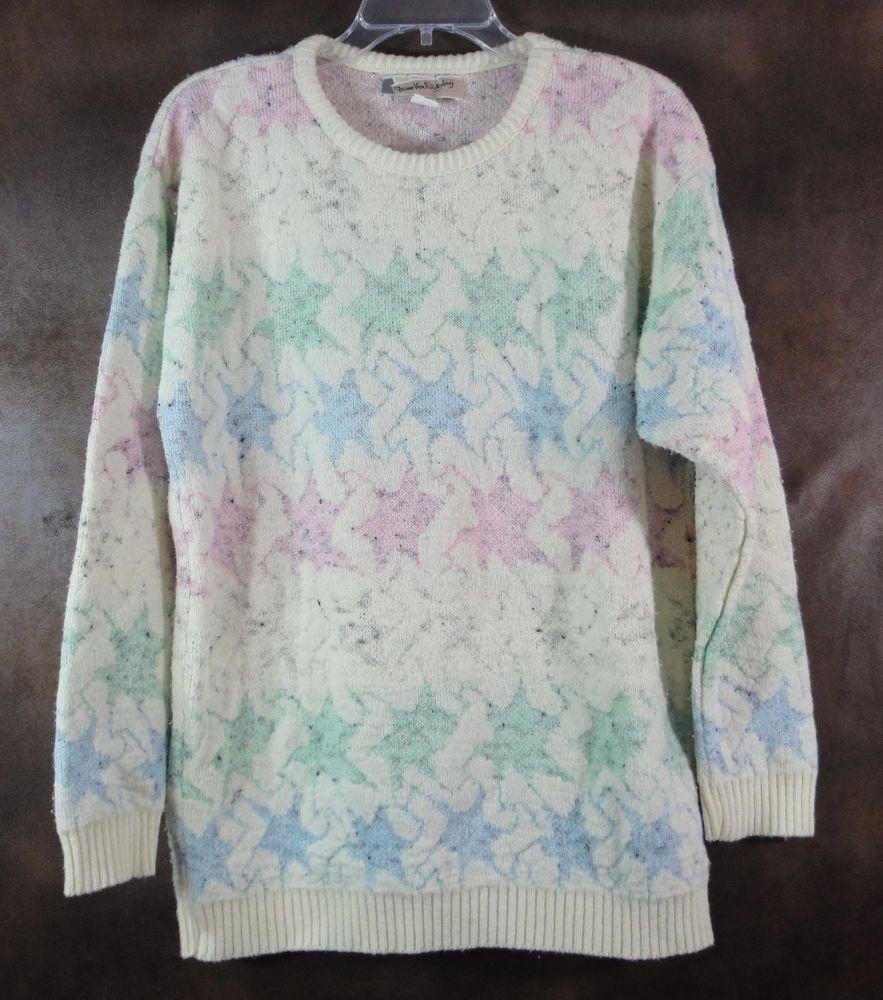 Diane Von Furstenberg 7539 Vintage Sweater Womens Large Pastel Abstract Pattern #DianeVonFurstenberg #Crewneck