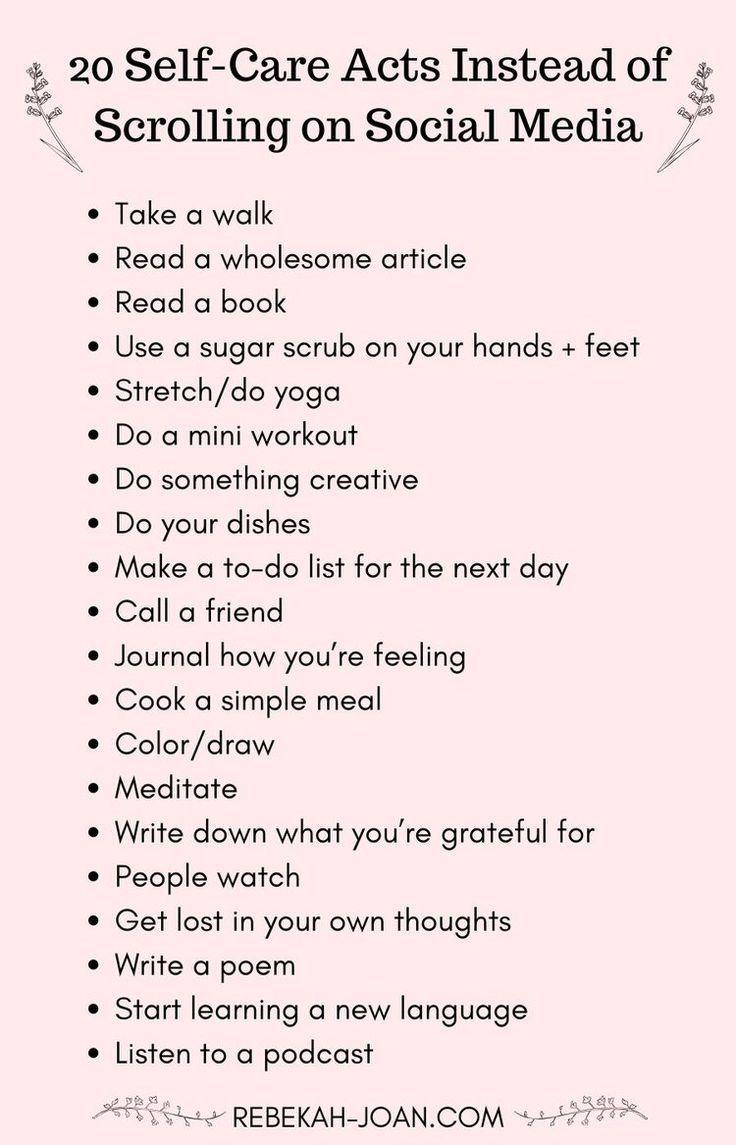 23 Self-Care Activities to Replace Scrolling on Social Media — Rebekah Joan