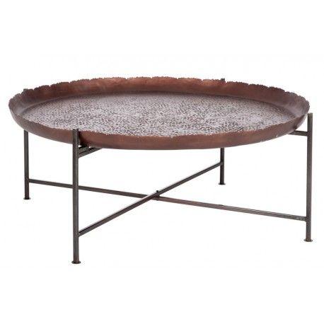 21801187b8e806 table basse ronde orientale en métal marron foncé 91X91X35CM J-Line J-Line  by Jolipa en vente à 189,00 € seulement chez Auxportesdeladeco