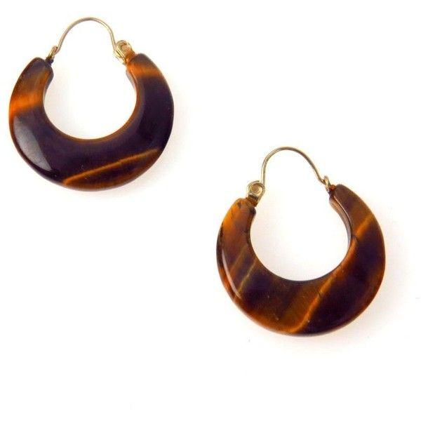 Carved Tiger Eye 14k Gold Hoop Earrings ($325) ❤ liked on Polyvore featuring jewelry, earrings, 14k hoop earrings, hoop earrings, vintage jewelry, 14k earrings and gold jewellery