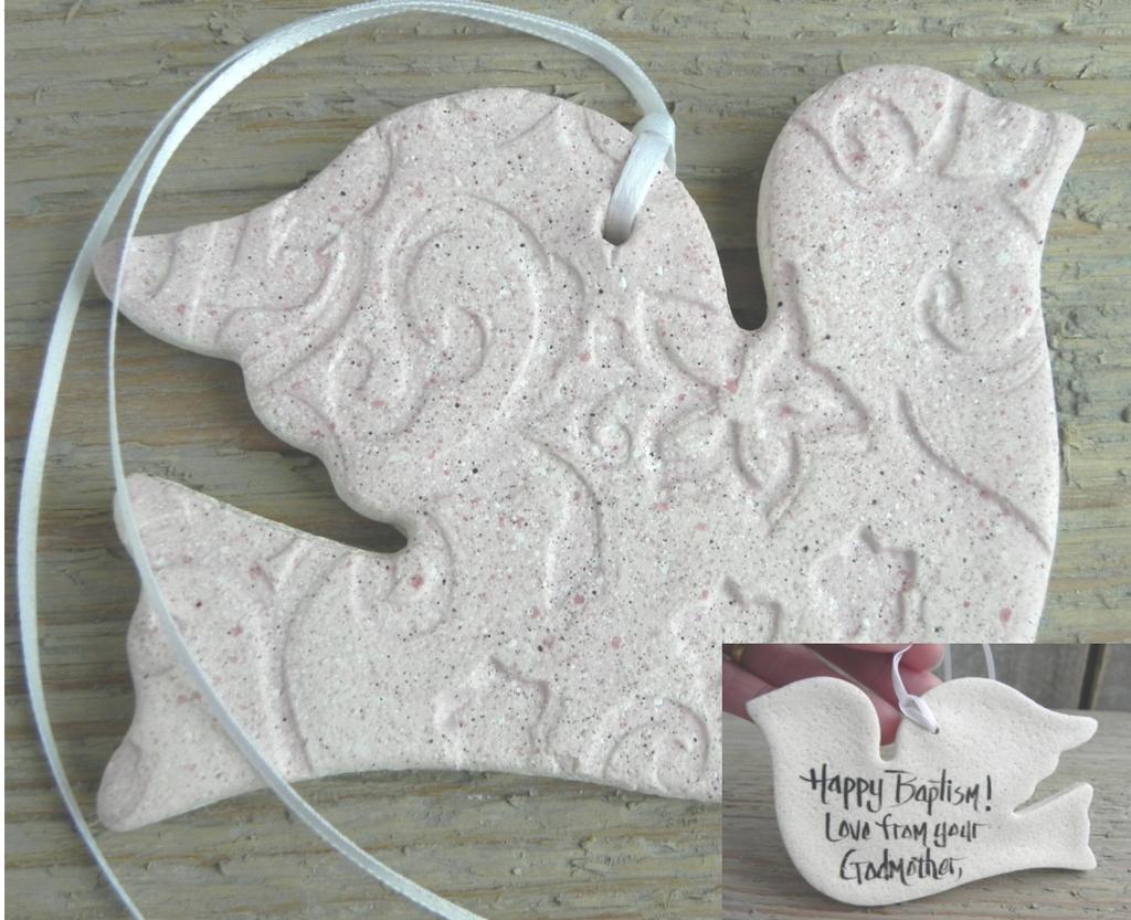 Baptism / Wedding Gifts / Favors Salt Dough Dove Ornament | Baptism ...