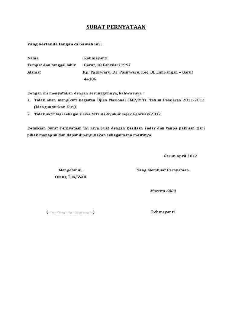 Contoh Surat Penjualan Tanah