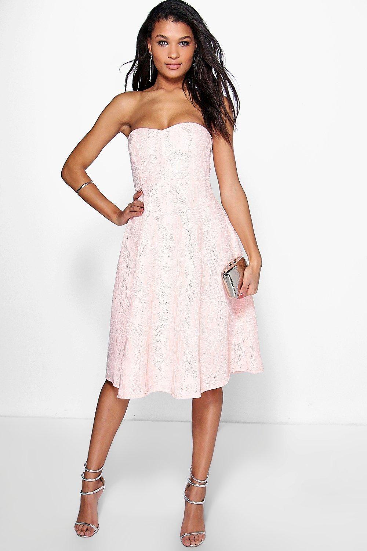 ebf1254c0f5e11 Boutique Mia Bonded Lace Bandeau Skater Dress