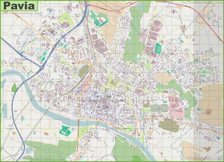 Large Detailed Map Of Pavia Mappe