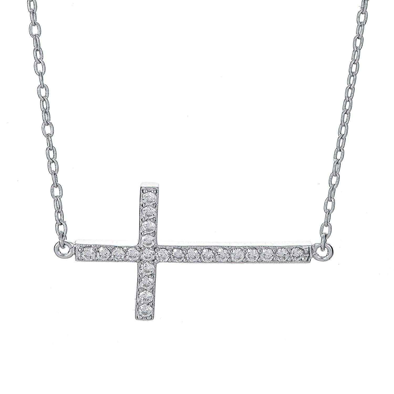 Bonyak Jewelry 18 Inch Rhodium Plated Necklace w// 6mm Sterling Silver Beads and Saint Mary Magdalene Charm