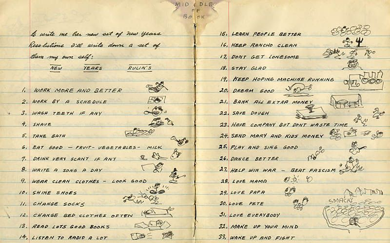 """""""Dream Good"""": 30-Year-Old Woody Guthrie's New Year's Resolution List"""