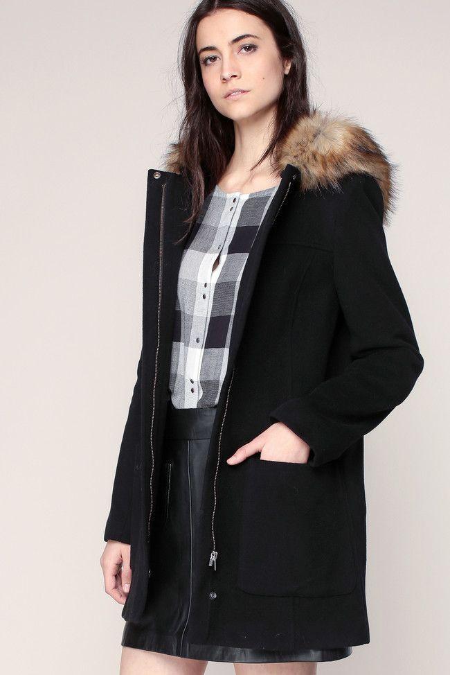 manteau femme noir capuuche fourrure noir