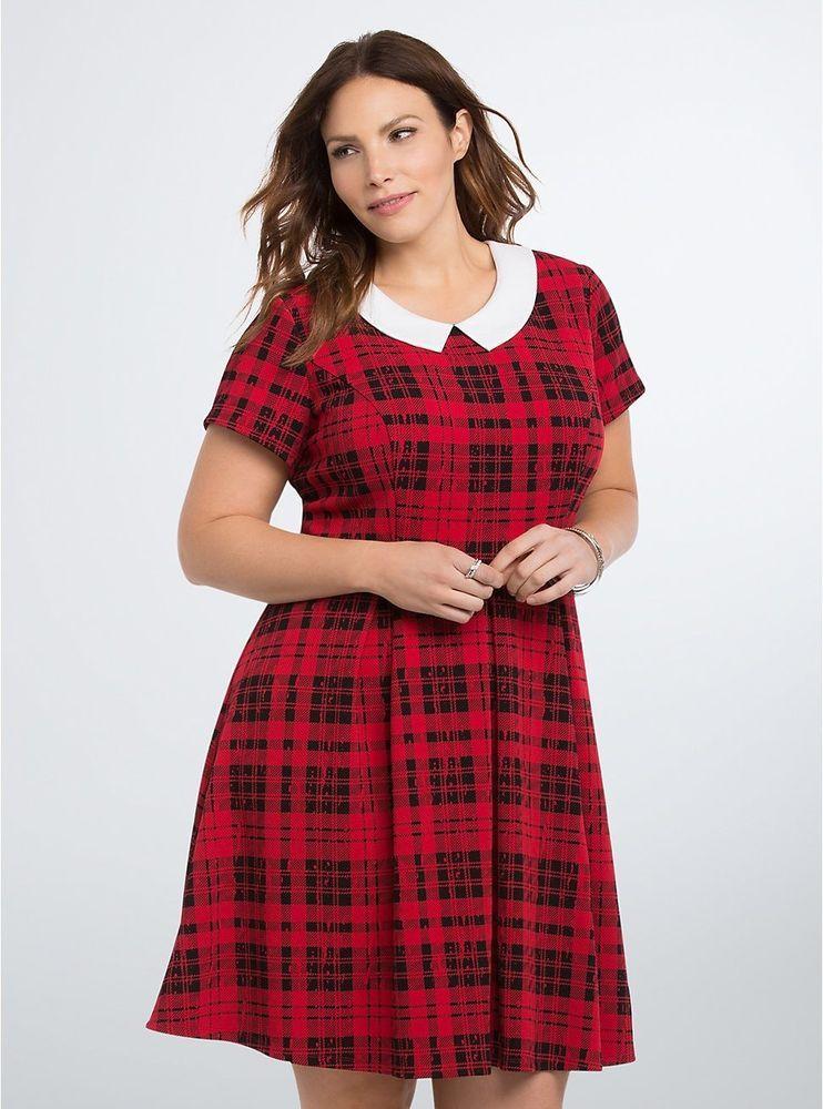 Torrid NWT Plaid Lace Back Skater Dress sz 2 Plus 2XL Red Black White  Pleated 50  Torrid  SkaterDress  AnyOccasion bf8e19936