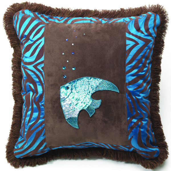 Turquoise zebra-velvet print with beautiful sequined angel fish.  Rhinestone bubble with brown fluffy trim and chocolate velvet center & back.