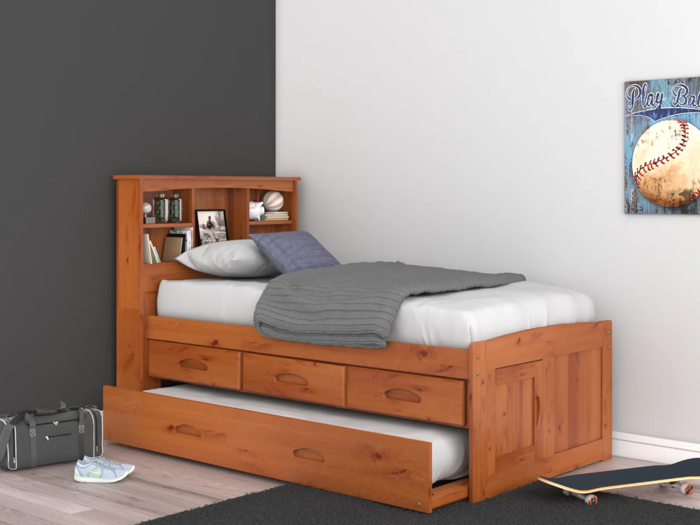 Pin On Children S Bedrooms Solid wood captain's bed twin