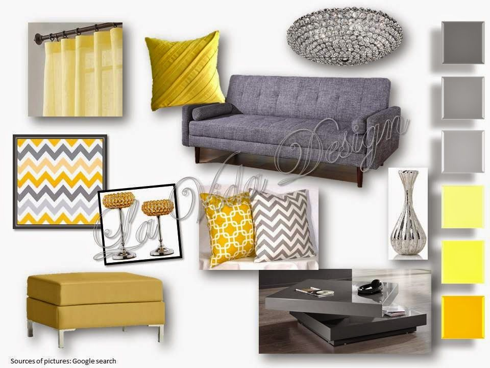 Yellow And Grey Living Room Sample Board