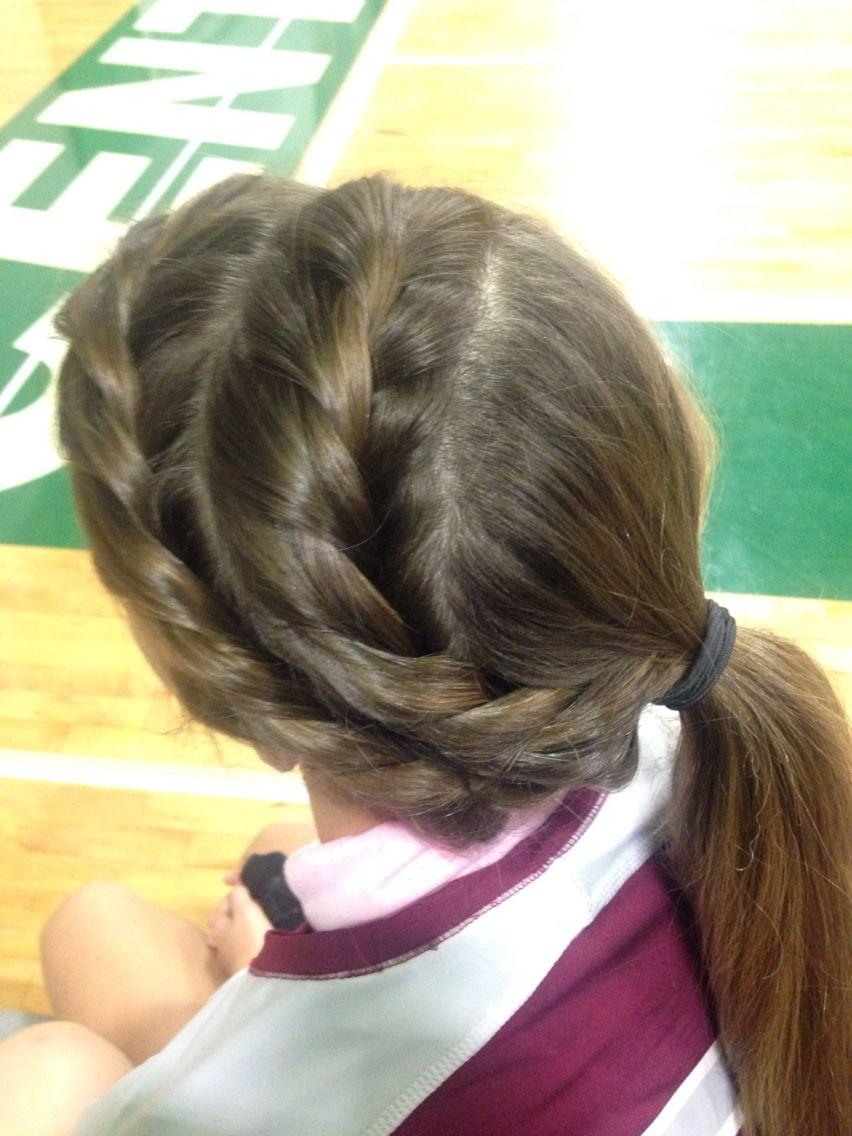 Two twist braids. Volleyball hair