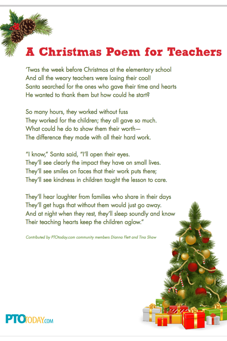 Christmas Poem For Teachers Christmas Poems Teacher Christmas Gifts Teacher Christmas