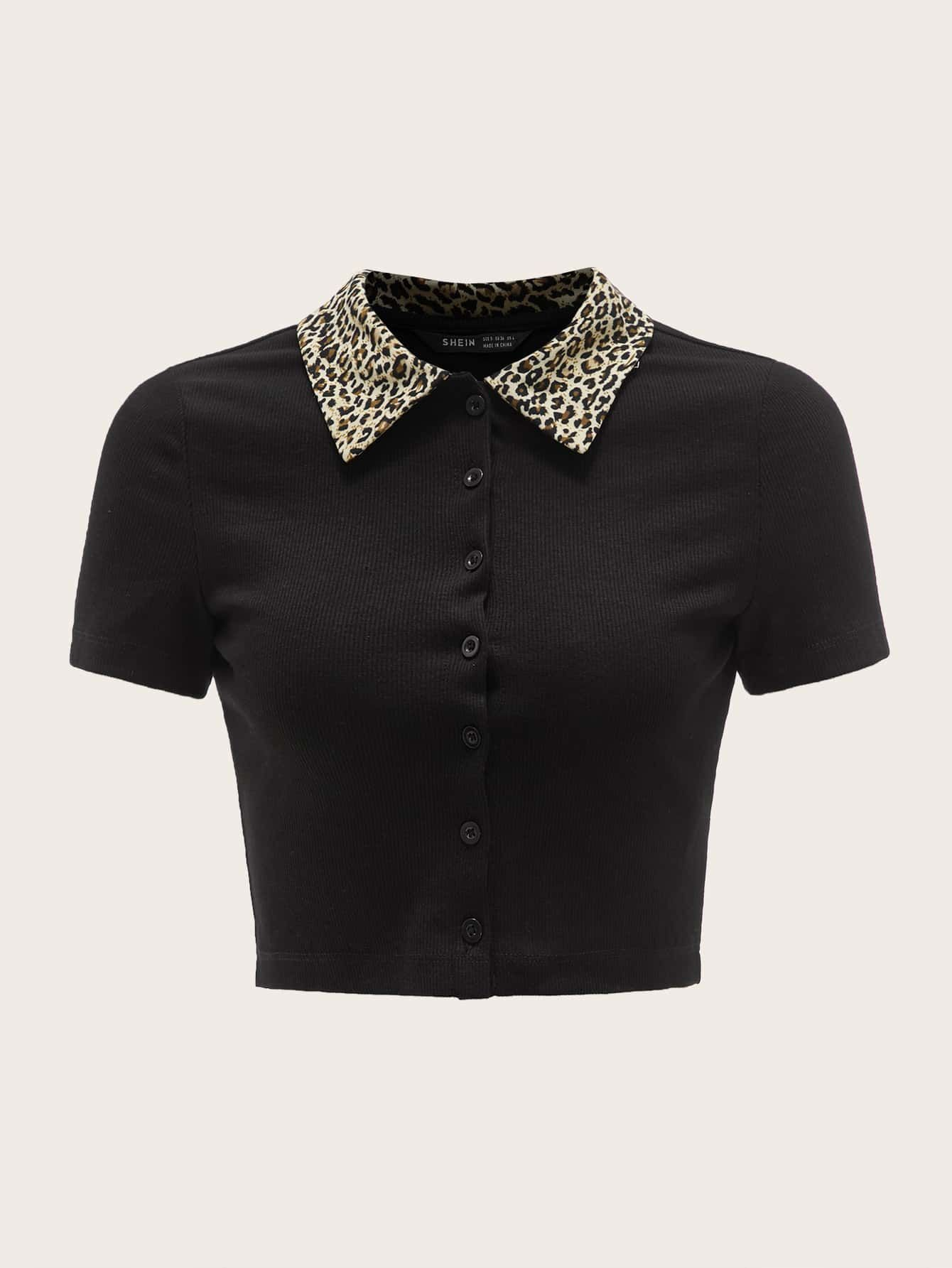 Black Friday 2020 Leopard Collared Buttoned Front Crop Top Shein Usa In 2020 Tops Crop Tops Clothes