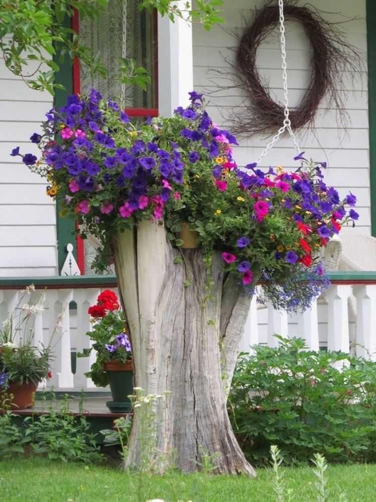 Decoration Jardin Couche D Arbre Mort Plantee Petunias Idees Jardin Decoration Jardin Souche D Arbre