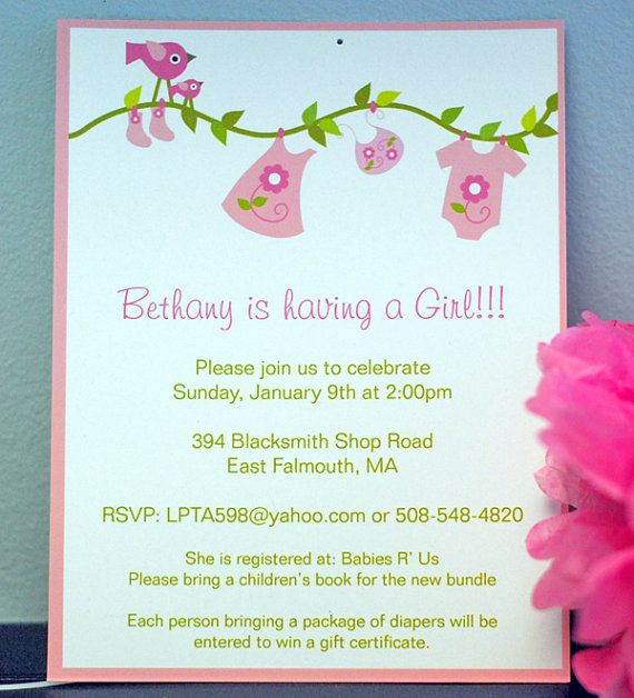 Pink Birds and Clothes Line- Girlu0027s Baby Shower Invitation Baby - sample email invitation