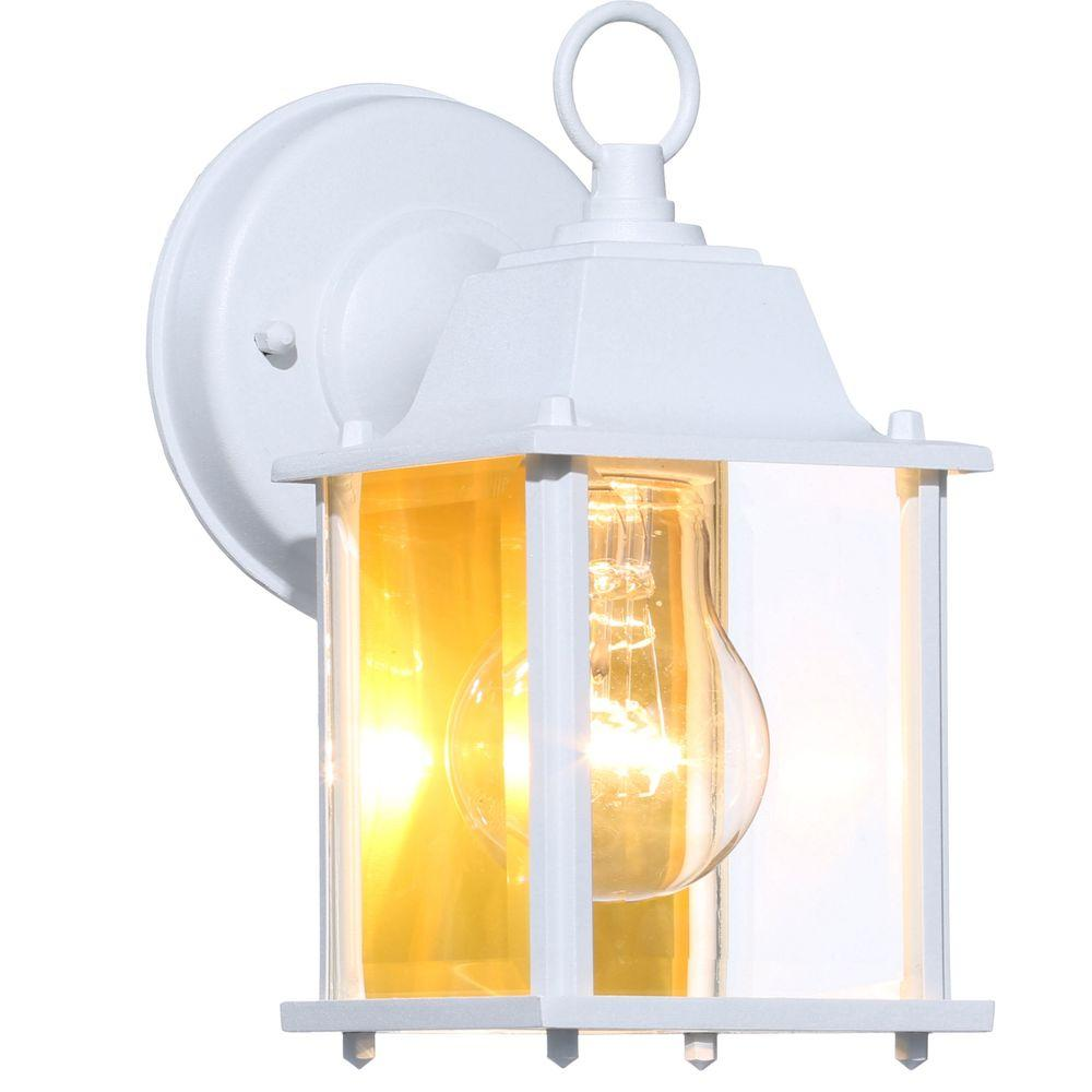 Hampton Bay 1 Light White Outdoor Wall Lantern Sconce Bpm1691 Wht Wall Lantern Outdoor Wall Light Fixtures Outdoor Wall Lantern