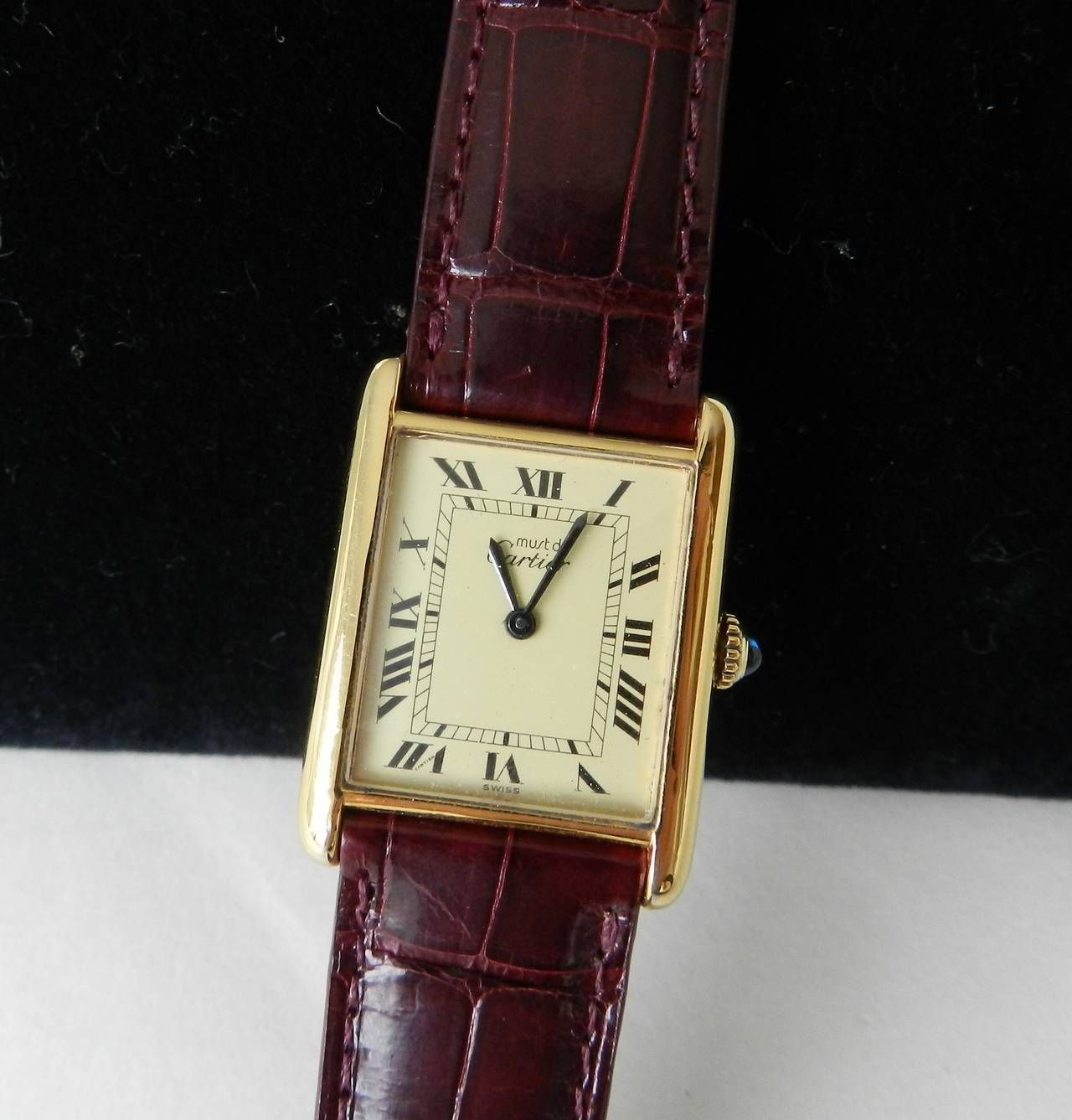 Vintage Must De Cartier Tank Watch Sterling Silver 925 Base With Gold Plate Sapphire Cabochon Turn Burgu Vintage Watches For Men Wrist Watch Vintage Watches