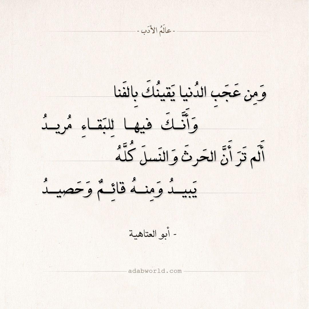 شعر أبو العتاهية ومن عجب الدنيا يقينك بالفنا عالم الأدب Arabic Poetry Funny Arabic Quotes Talking Quotes