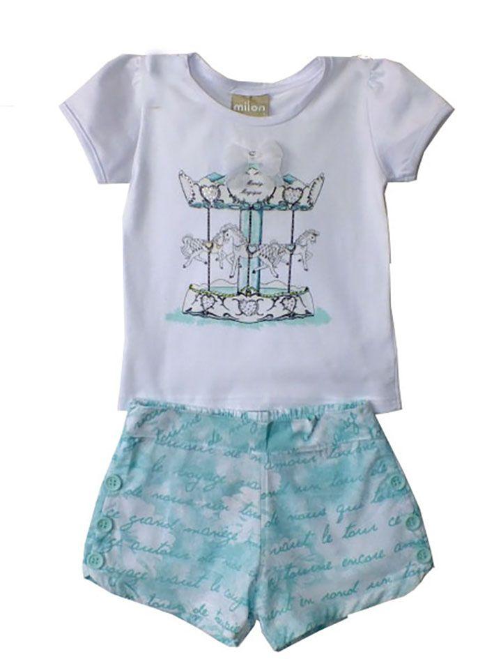 Conjunto Infantil Milon Feminino Carrocel Verde  c5a0d06e172a3