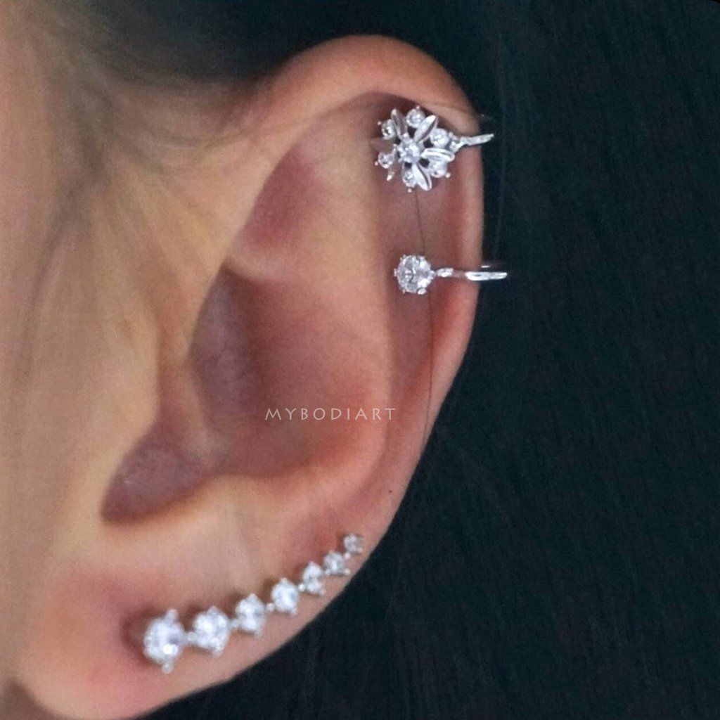 Nose piercing trends 2018  Kailey Swarovski Crystal Ear Climber Earring in   Ear Piercing