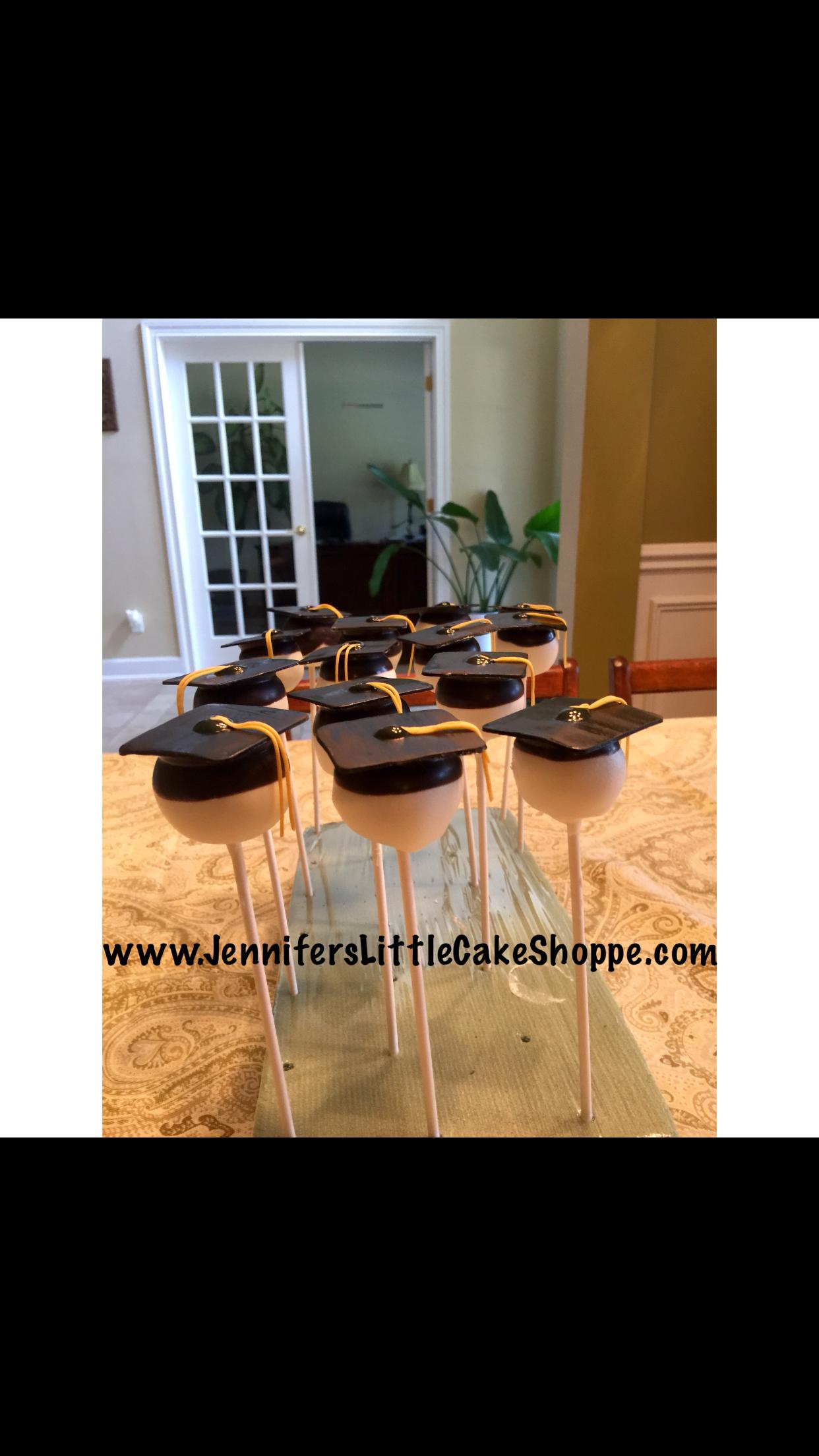 Graduation cap cake pops from Jennifer's Little Cake