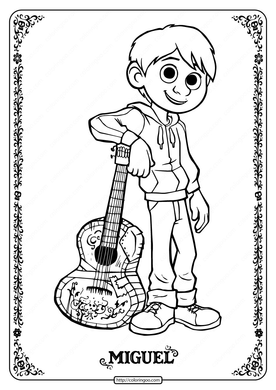 Printable Disney Coco Miguel Coloring Pages Coloring Pages Geometric Coloring Pages Coloring Pages For Boys