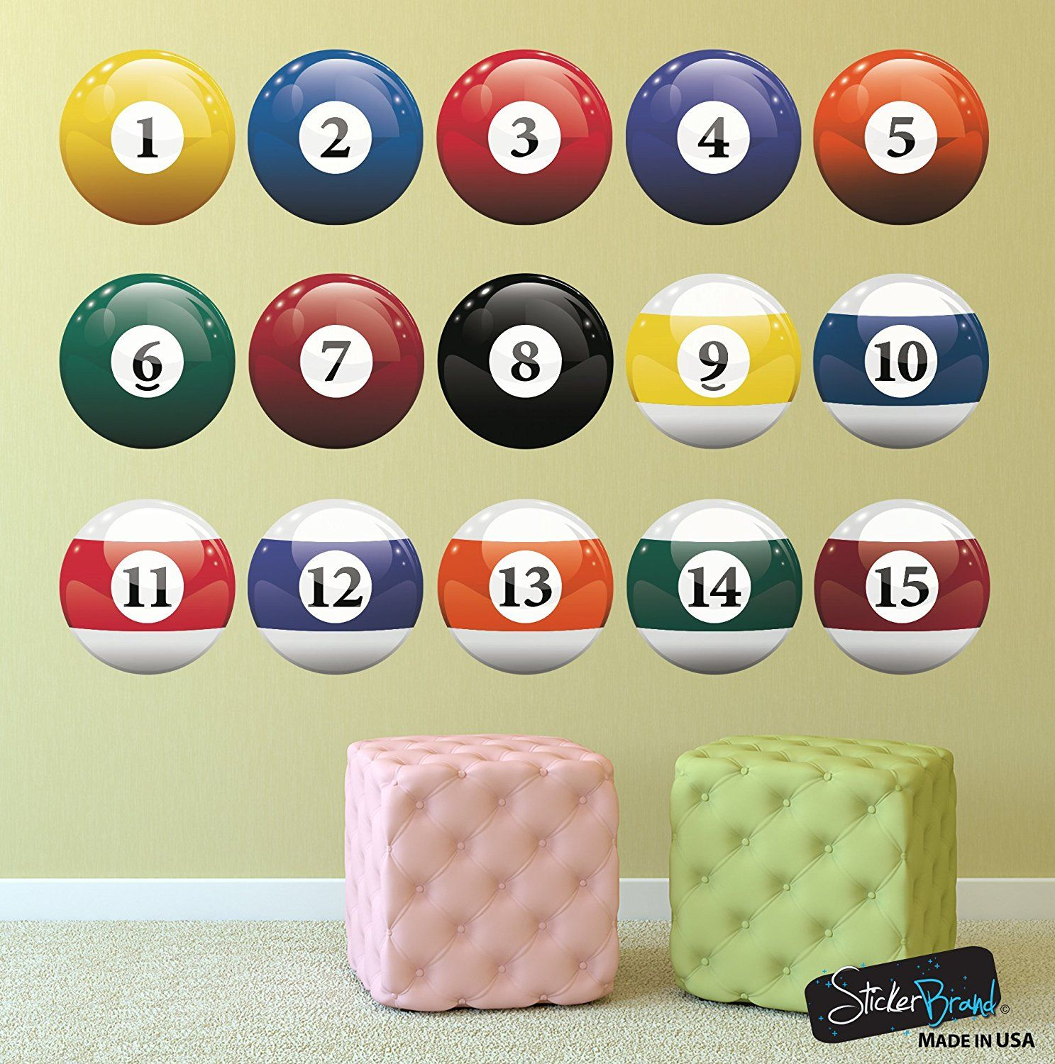 16 Realistic Color Billiard Balls Wall Decal Sticker Game Room Sign ...