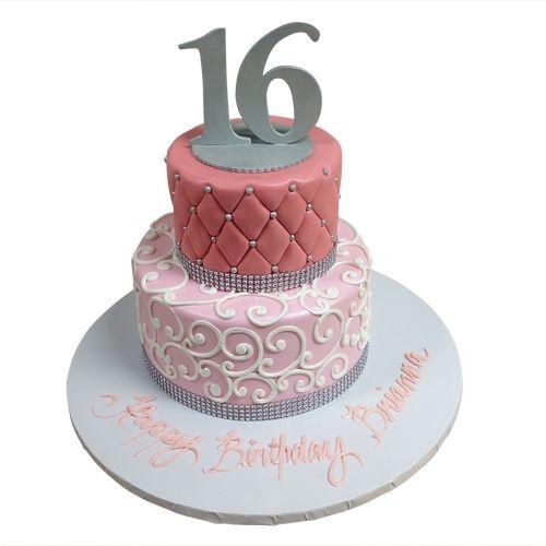 Prime Two Tiered Sweet Sixteen Birthday Cake Simple Elegant And Funny Birthday Cards Online Kookostrdamsfinfo