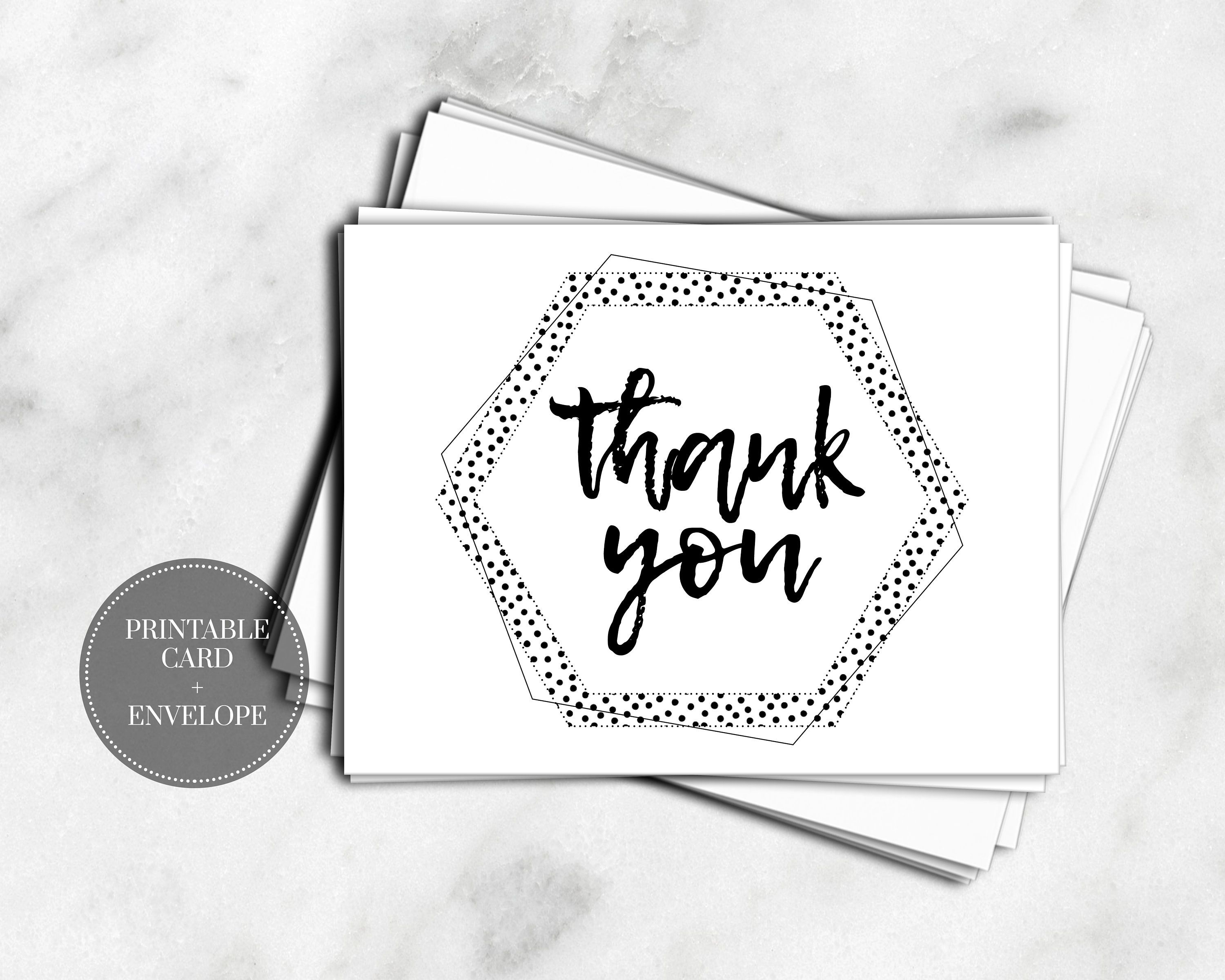 Printable Thank You Card Instant Download Set Pack Envelope Black