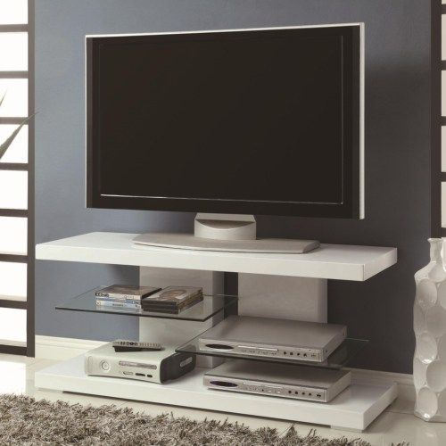 Coaster Tv Stands Modern Stand With Alternating Gl Shelves Fine Furniture