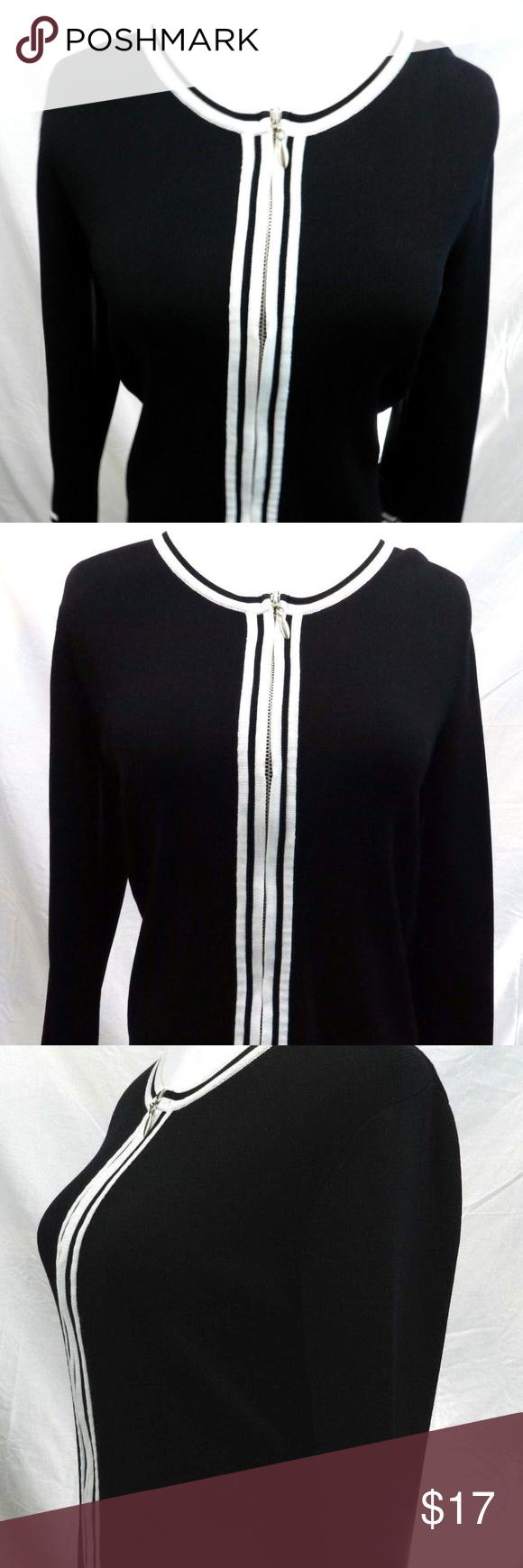 Dress barn black long sleeve zip front blouse my posh closet