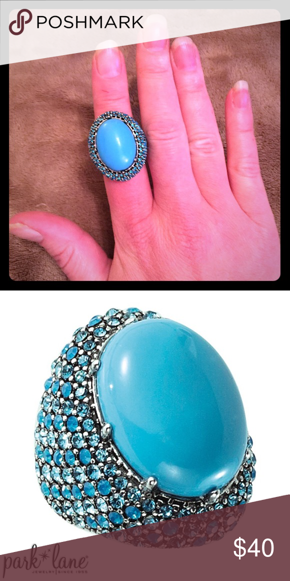 "Eva Ring by ParkLane Size 10 Big bold and beautiful, Eva`s huge cabochon gem and pave Swarovski crystal surround are presented in a gorgeous shade of turquoise. The open filigree back allows in light to maximize sparkle. This deal is for the ""sample"" ring size 10. Can order you a new one size 5-10 comment if you want one. MontanasBling with Park Lane Jewelry Rings"