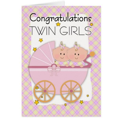Twins Congratulations Twin Girls In A Pram Card Twins Twin