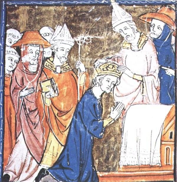 charlemagne picture gallery holy r empire and r empire charlemagne crowned by pope leo this illumination from a medieval mansucript shows charles kneeling and leo